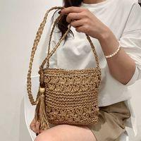 Vintage Braided Strap Small Crossbody Shoulder Bags for Women 2021 Fashion Ladies Travel Handbags Small Travel Tote Purse Tassel Y0728