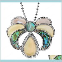 Ювелирные изделия Натуральный многоцветный Abalone оболочка ожерелья ожерелья водой половина луны Зеландия раковины швабры CZ Подвески для женской доставка 202