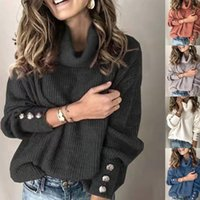 Casual Loose Autumn and Winter Turtleneck Sweater Womens Solid Knitted Warm Long-sleeved Pullover Black Pink