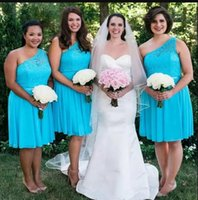 Country Plus Size Blue Bridesmaid Dresses One Shoulder A Line Sleeveless Knee Length Chiffon Lace Pleats Maid of Honor Gown vestidos Custom Made