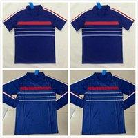 1984 1985 1986 프랑스 레트로 축구 유니폼 홈 블루 빈티지 축구 셔츠 84 85 86 클래식 Maillot 드 발 타이어 품질 짧고 긴 소매