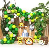 144 PCS Balões de Animais Garland Kit Jungle Safari Tema Festa Favoritos Favores Crianças Meninos Festa de Aniversário Festa de Bebê Decorações