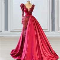 Luxury Red Mermaid Prom Dresses With Overskirt Glitter Sequins Crystal Appliqued Satin Formal Evening Dress Custom Made Long Sleeves Robes De Soirée