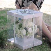 Очистить квадрат ПВХ прозрачный ручной коробку коробки для цветов упаковочный букет подарочные коробки для свадьбы пользы на день рождения день Святого Валентина день