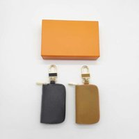 Anahtarlık moda el yapımı deri erkek ve kadın rahat cüzdan çanta kolye aksesuarları 3 renkler band kutusu