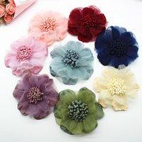 الزخرفية الزهور أكاليل 10 قطع الشيفون diy زهرة أغطية الرأس قبعة اللباس الديكور ملابس الاكسسوارات الشعر