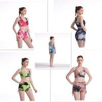 Verano Nuevo Burbuja Jacquard Chaleco Conjunto Yoga Multi Color Tie Dye Sujetador Corta Traje Mujer Diseñadores Dos Piezas Trajes 2021