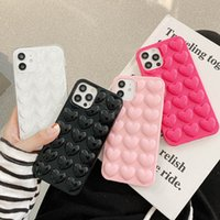 3D Heart Love Ecompression Phone Cases Unique Soft Silicone Cover Candy Color Back Skin Mobile Covers for iPhone X MAX 11 12 PRO