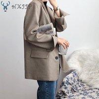 Kadın Takım Elbise Blazers HXJJP Ekose Blazer Bahar Sonbahar 2021 Tek Göğüslü Kore Gevşek Uzun Kollu Moda Suit Top Ofis Bayan