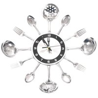 Wall Clocks Stainless Steel And Fork Clock Metal Knife Spoon Silent Scanning Tableware Platter