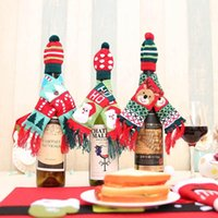 Santa Claus Champagne Wine Bottle Knitting Hats And Scarf Xmas Home Party Table Decorations Christmas Decoration Gifts