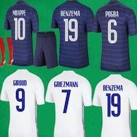 Benzema Futebol Jersey Maillot de Foot Mbappe Griezmann Pogba Giroud Zidane Futebol Camisas Masculinas Equipe Equipamento Fêmeas Kits Kits Meias