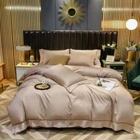 Luxury High-End Castle Embroidery Tencel Washing Silk 4pcs Bedding Set Duvet Cover Bed Sheet Queen Size Sets
