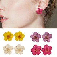 Pair Fashion Dried Flower Stud Women Resin Earrings Alloy Statement Exquisite Ear Studs For Girls Jewelry Gifts