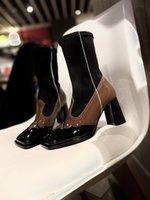 2021 мода женщин на высоком каблуке сапоги коричневые кожаные поверхности и эластичный рукав дизайн ботас муджер Diseño de lujo боевые пинетки