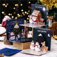 Weihnachten 3D Grußkarten Weihnachten Weihnachten Gruß Fröhliche Weihnachtskarten 3D Dreidimensionale Santa Claus Card Elk Schneemann LLA8743