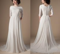 Ivory Champagne Modest Wedding Dresses With 3 4 Sleeves Beaded Lace A-line Chiffon Boho Informal Bridal Gown LDS Religious Wedding Gown