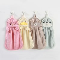 Thickened Coral fleece Cartoon Bathroom Kitchen Soft Hand Towel Super Absorbent Hanging Dry Hands Cloth Wiping Rags Lint Free 36*25CM 14*10INCH JY0762