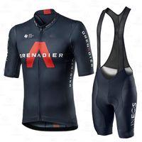 Велоспорт Джерси набор мужской команды одежда Ineos Grenadier 2020 конкуренция Костюм с коротким рукавом Обучение дышащей легкой гонкой Униформа 210417