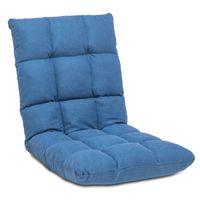 Cadeira de jogos de piso ajustável 14 posições com apoio traseiro para leitura de meditação adultos crianças, azul
