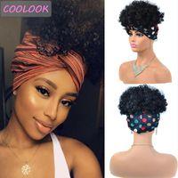 Kinky Curly Headband Wigs para Mulheres 8 polegadas Curto Afro Cap Wig Resistente ao calor Fibra Cosplay Profundamente com Lenço Sintético