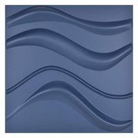 Art3d 50x50cm Navy Blue 3D Plastic Wall Panels Self-adhesive Soundproof Slim Wave Design for Living Room Bedroom TV Background (Pack of 12 Tiles)