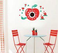 Wall Clocks Red Apple Cartoon Sticker Large Decorative Kids Bedroom Children Home Decor Big Clock A2176c