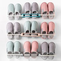 Wall Mounted Shoe Storage Rack Folding Slippers Hanging Shelf 3 In 1 Sandals Holder Bathroom Home Tool Hooks & Rails