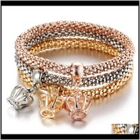Charm Bracelets Drop Delivery 2021 Vintage Multilayer Popcorn Stretch Bangle Fashion Crystal Elephant Rudder Owl Crown Charms Bracelet Jewelr