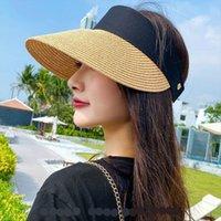 Magic Tape Panama Women Straw Hat Empty Top Womens Summer Sun Protection Outdoor Sports Fishing Beach Essential