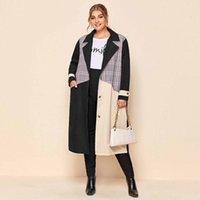 أزياء اللون المرقعة امرأة أنيقة خندق زائد الحجم منتصف طول معطف الخندق الربيع والخريف الشارع الشهير امرأة الملابس # 3 R4eb #