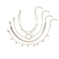 Handgemachte Schmuck Großhandel Einfache Geometrische Kette Kühle Wind Armband Persönlichkeit Kreis Muster Pfeilkette 4-teiliges Set Armband