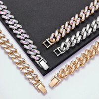 Link, Chain Hip Hop Iced Out Color Cuban Link Bracelets For Men Women With Glass Diamond Stone Miami Hand Jewelry