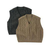 Pullover Boys Outwear Clothes Kids V-neck Sweater Tops 2021 Spring Baby Knitted Vest Girls Sleeveless Soft