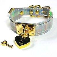 Donne fresche Harajuku Lolita 100% Handmade Holography Choker Laser Collar Gold Heart Block Key Collana Punk Collana Catene
