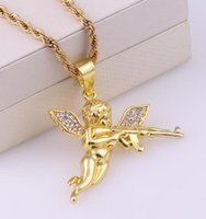 New Style Hot Baby Angel Gun Women And Men Punk Jewelry Gold Color Necklace Pendan Pendant Jewelry Charm Necklaces wjl4789