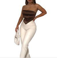 Strapless lenço colheita tops para mulheres moda sem mangas sem costas festa de clube festa sexy envoltório mini top top cortados sólidos 051905