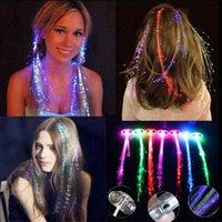 플래시 LED 헤어 라이트 발광 광섬유 피그 테일 브레이드 플라 닛 빛나는 머리 가발 파티 용품 크리스마스 축제 야간 조명 장식