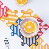 Puzzle Placemat Hollow Jigsaw Coaster Heat-Resistant Soft Non-Slip Coasters Kitchen Tableware Mat Tool GWB9108