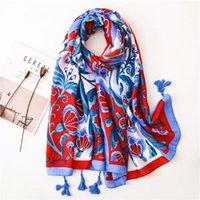 Hats, Scarves & Gloves Sets 2021 Fashion Autumn Women Cotton Scarf Flower Beach Hijab Shawls And Wraps Female Foulard Echarpe Designer Banda