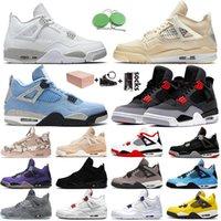 OFF White Nike Air Jordan 4 Retro 4 4s Jumpman Stock x С коробкой Женская мужская баскетбольная обувь Кремовый парус Guava Ice Union Кроссовки