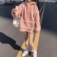 Women's Hoodies & Sweatshirts Lamb Hair Hooded Sweatshirt Female Winter Korea Ins Harajuku Vintage Cartoon Fashion Oversize Loose Casual