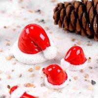 Natal chapéu decorações de jardim miniatura fada jardinagem acessório decoração boneco de bonecas musgo terrarium ornamentos hhb7329
