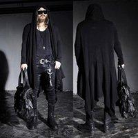 Men's Jackets S-4XL Mens Fashion Mod Stylish Avant-garde Dark Punk Hood Long Black Cape Cardigan Jacket KNIT Coat CLOTHING
