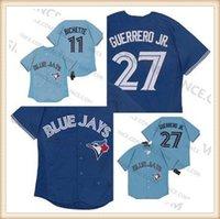 Toptan Toronto Vladimir Guerrero Jr. Jay Jersey Mavi 11 Bo Bichette Boş Beyzbol Formaları En Kaliteli Erkek Boyutu
