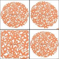 Tischtücher Textilien Home Gardentable Läufer Runde Laser Cut Blume Filz Tischsets Küche Dinner Cup Matten Kissen Orange Tropfen Lieferung 2