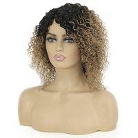 Перуанские человеческие парики для волос Джерри вьющиеся полный машины сделаны WIG 1B / 30 Оммре Цвет 14 дюймов короткие волосы для женщин