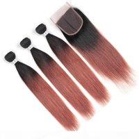 # 1b 33 Dark Auburn Ombre Straight Brasilian Human Hair 3bundles con el cierre de los paquetes de pelo rojo de cobre con el cierre de trabaches de tejido marrón rojizo