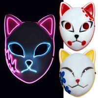 Anime Demon Slayer LED Mask Cosplay Sabito Kamado Makomo Cute Masks Halloween Party Costume Props
