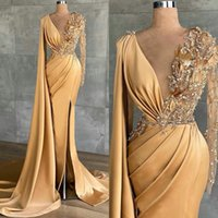 2021 Gorgeous Champagne Evening Dresses Crystal Beading Mermaid Long Sleeves Formal Illusion Party Prom Gowns Split Front Satin Runway Dress
